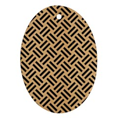 Woven2 Black Marble & Natural White Birch Wood (r) Oval Ornament (two Sides) by trendistuff