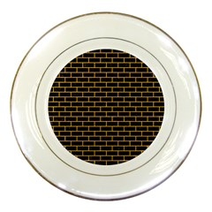 Brick1 Black Marble & Orange Colored Pencil Porcelain Plates by trendistuff