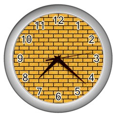 Brick1 Black Marble & Orange Colored Pencil (r) Wall Clocks (silver)  by trendistuff