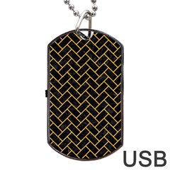 Brick2 Black Marble & Orange Colored Pencil Dog Tag Usb Flash (two Sides) by trendistuff