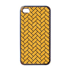 Brick2 Black Marble & Orange Colored Pencil (r) Apple Iphone 4 Case (black) by trendistuff
