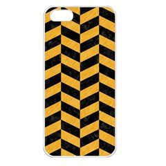 Chevron1 Black Marble & Orange Colored Pencil Apple Iphone 5 Seamless Case (white) by trendistuff
