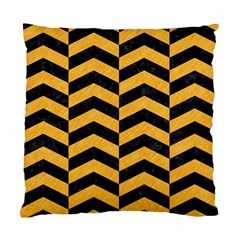 Chevron2 Black Marble & Orange Colored Pencil Standard Cushion Case (two Sides) by trendistuff