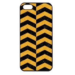 Chevron2 Black Marble & Orange Colored Pencil Apple Iphone 5 Seamless Case (black) by trendistuff