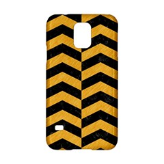 Chevron2 Black Marble & Orange Colored Pencil Samsung Galaxy S5 Hardshell Case  by trendistuff