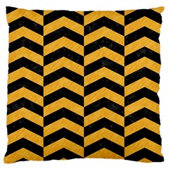 Chevron2 Black Marble & Orange Colored Pencil Standard Flano Cushion Case (two Sides) by trendistuff
