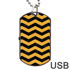 Chevron3 Black Marble & Orange Colored Pencil Dog Tag Usb Flash (two Sides) by trendistuff