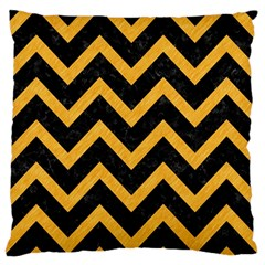 Chevron9 Black Marble & Orange Colored Pencil Standard Flano Cushion Case (two Sides) by trendistuff