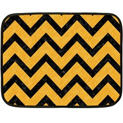 Chevron9 Black Marble & Orange Colored Pencil (r) Double Sided Fleece Blanket (mini)  by trendistuff
