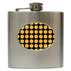 Circles1 Black Marble & Orange Colored Pencil Hip Flask (6 Oz) by trendistuff