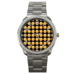 Circles1 Black Marble & Orange Colored Pencil Sport Metal Watch by trendistuff