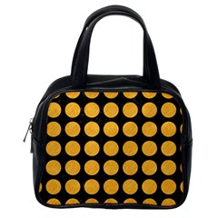 Circles1 Black Marble & Orange Colored Pencil Classic Handbags (one Side)