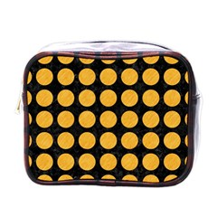 Circles1 Black Marble & Orange Colored Pencil Mini Toiletries Bags by trendistuff