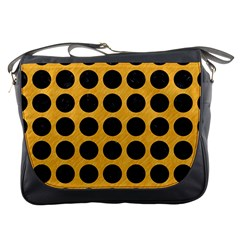 Circles1 Black Marble & Orange Colored Pencil (r) Messenger Bags by trendistuff