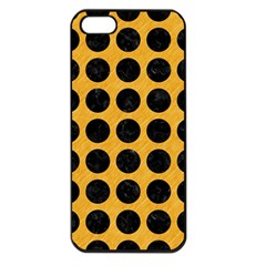 Circles1 Black Marble & Orange Colored Pencil (r) Apple Iphone 5 Seamless Case (black) by trendistuff