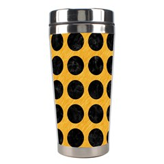 Circles1 Black Marble & Orange Colored Pencil (r) Stainless Steel Travel Tumblers by trendistuff