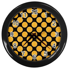 Circles2 Black Marble & Orange Colored Pencil Wall Clocks (black) by trendistuff