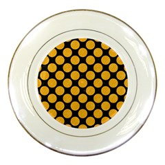 Circles2 Black Marble & Orange Colored Pencil Porcelain Plates by trendistuff