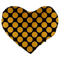 Circles2 Black Marble & Orange Colored Pencil Large 19  Premium Heart Shape Cushions by trendistuff