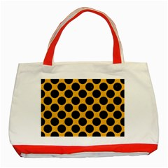 Circles2 Black Marble & Orange Colored Pencil (r) Classic Tote Bag (red) by trendistuff