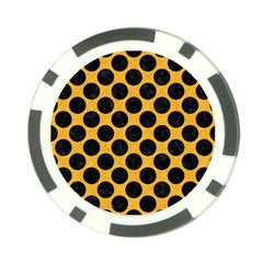 Circles2 Black Marble & Orange Colored Pencil (r) Poker Chip Card Guard (10 Pack) by trendistuff