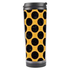 Circles2 Black Marble & Orange Colored Pencil (r) Travel Tumbler by trendistuff