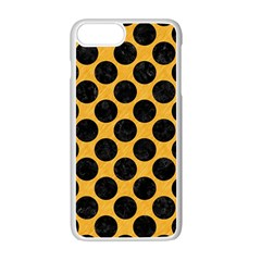 Circles2 Black Marble & Orange Colored Pencil (r) Apple Iphone 7 Plus White Seamless Case by trendistuff