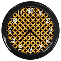 Circles3 Black Marble & Orange Colored Pencil Wall Clocks (black) by trendistuff