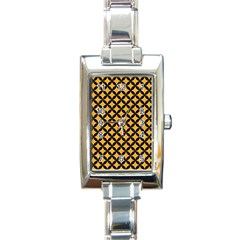 Circles3 Black Marble & Orange Colored Pencil (r) Rectangle Italian Charm Watch by trendistuff