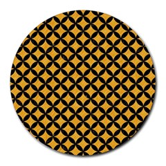 Circles3 Black Marble & Orange Colored Pencil (r) Round Mousepads by trendistuff