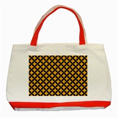 Circles3 Black Marble & Orange Colored Pencil (r) Classic Tote Bag (red)