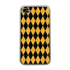 Diamond1 Black Marble & Orange Colored Pencil Apple Iphone 4 Case (clear) by trendistuff