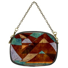 Turquoise And Bronze Triangle Design With Copper Chain Purses (two Sides)  by digitaldivadesigns