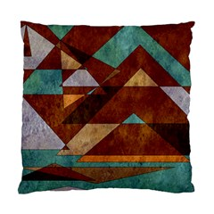 Turquoise And Bronze Triangle Design With Copper Standard Cushion Case (one Side)