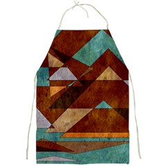Turquoise And Bronze Triangle Design With Copper Full Print Aprons by digitaldivadesigns