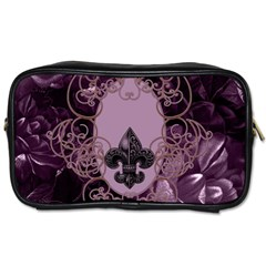 Soft Violett Floral Design Toiletries Bags 2 Side by FantasyWorld7