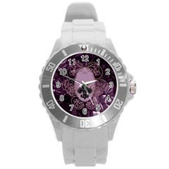 Soft Violett Floral Design Round Plastic Sport Watch (l) by FantasyWorld7
