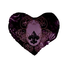 Soft Violett Floral Design Standard 16  Premium Flano Heart Shape Cushions by FantasyWorld7