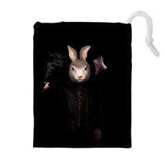 Evil Rabbit Drawstring Pouches (extra Large) by Valentinaart