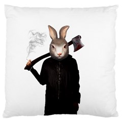 Evil Rabbit Large Cushion Case (two Sides) by Valentinaart
