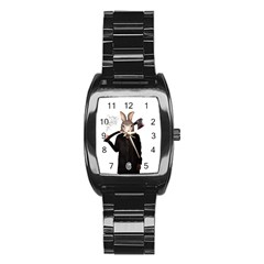 Evil Rabbit Stainless Steel Barrel Watch
