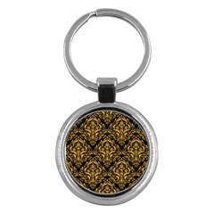 Damask1 Black Marble & Orange Colored Pencil Key Chains (round)  by trendistuff