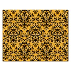 Damask1 Black Marble & Orange Colored Pencil (r) Rectangular Jigsaw Puzzl by trendistuff