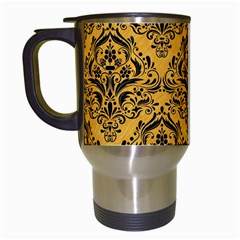 Damask1 Black Marble & Orange Colored Pencil (r) Travel Mugs (white)