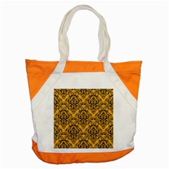 Damask1 Black Marble & Orange Colored Pencil (r) Accent Tote Bag by trendistuff