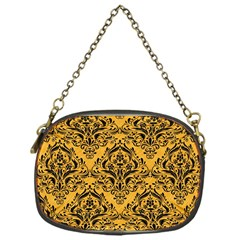 Damask1 Black Marble & Orange Colored Pencil (r) Chain Purses (one Side)  by trendistuff