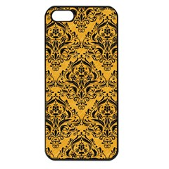 Damask1 Black Marble & Orange Colored Pencil (r) Apple Iphone 5 Seamless Case (black) by trendistuff