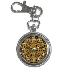 Damask2 Black Marble & Orange Colored Pencil Key Chain Watches by trendistuff