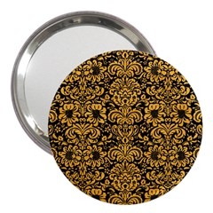 Damask2 Black Marble & Orange Colored Pencil 3  Handbag Mirrors by trendistuff