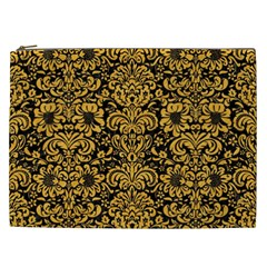 Damask2 Black Marble & Orange Colored Pencil Cosmetic Bag (xxl)  by trendistuff